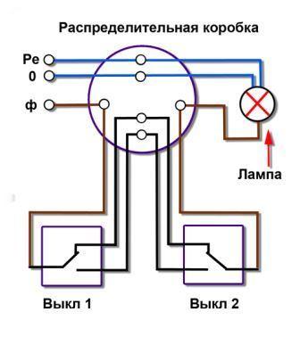 Схема включения проходных переключатей