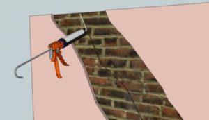 Акриловый герметик для заделки трещин в кирпичных стенах