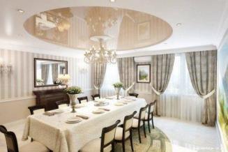 Натяжной потолок в интерьере классического стиля