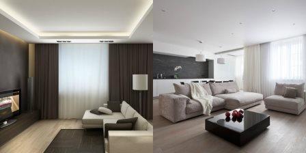 Натяжной потолок в интерьере стиля минимализм