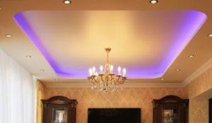 двухуровневый потолок со светодиодной лентой